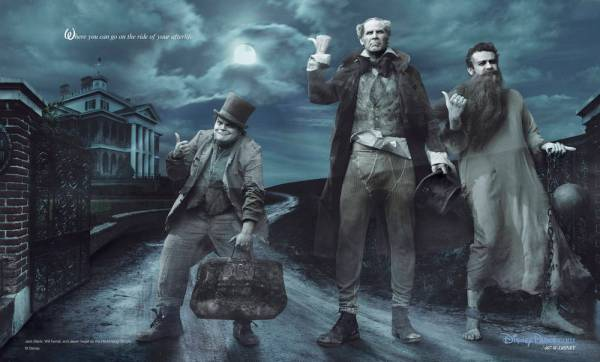 Jack Black, Will Ferrell and Jason Segel Appear as the Hitchhiking Ghosts from the Haunted Mansion in New Disney Parks Dream Portrait by Annie Leibovitz
