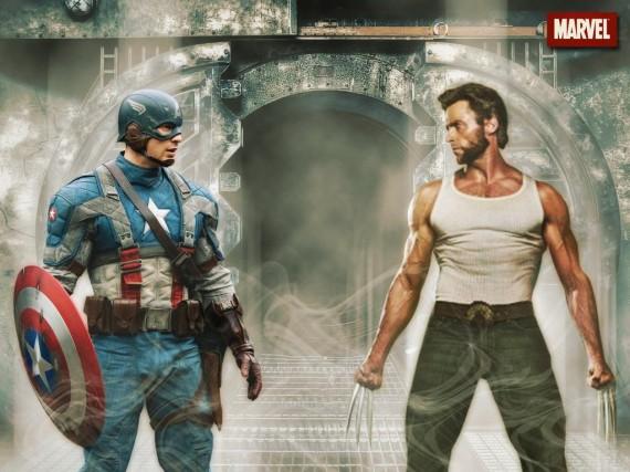 Hugh-Jackman-Wolverine-Chris-Evans-Captain-America-570x427