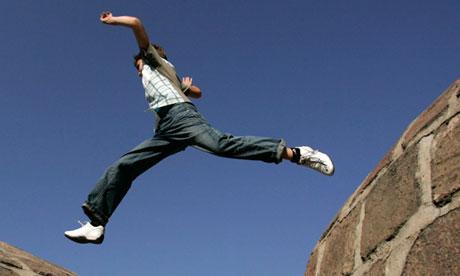A boy jumps